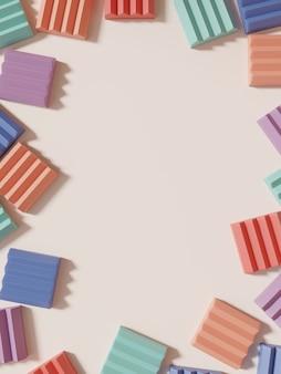 3d-рендеринг минимальной геометрической головоломки или головоломки блокирует фон дисплея продукта для красоты