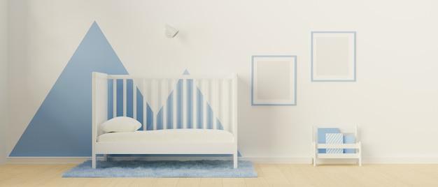 3d-рендеринг минимальной детской спальни с кроватью, книжной полкой, ковром и рамкой для макета на окрашенной стене 3d-иллюстрация