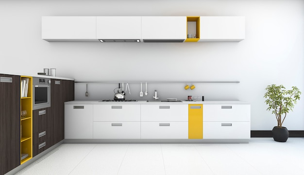 3d rendering minimal and modern yellow kitchen with oven in white room