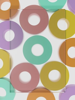 美容のためのライトボックス上面図の背景に最小限のマルチカラーラウンドブロックまたはドーナツを3dレンダリング
