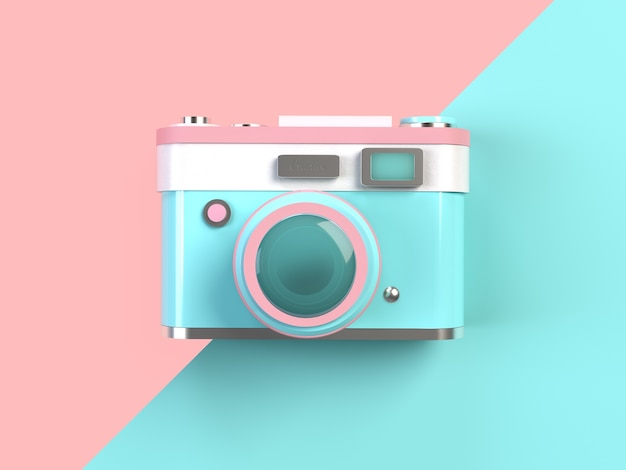 3d rendering - minimal pastel camera on pink and turquoise background