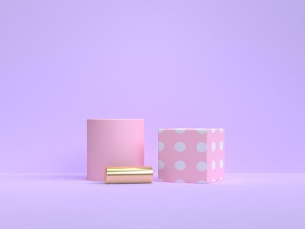 3d 렌더링 최소한의 분홍색 기하학적 모양 보라색 보라색 배경