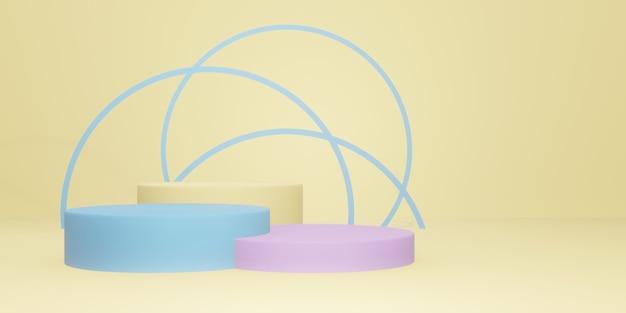 3d 렌더링 최소한의 제품 목업 파스텔 스탠드