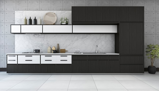 3d rendering minimal and retro kitchen in loft design