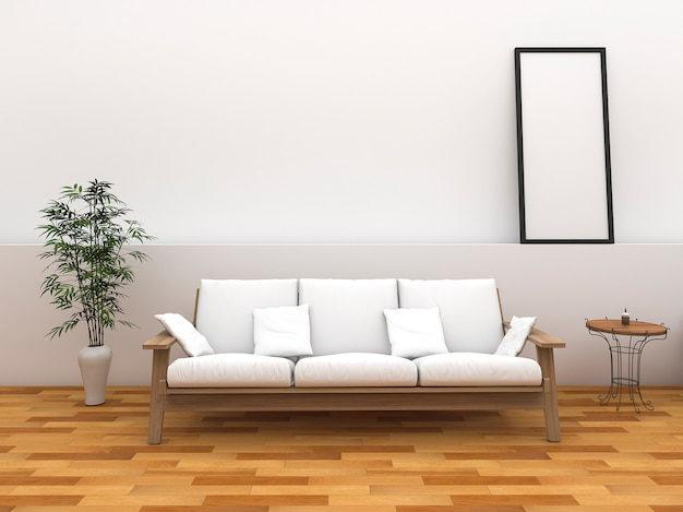 3d rendering minimal style room with vintage style bench