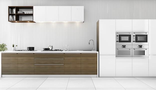 3d rendering minimal white modern kitchen