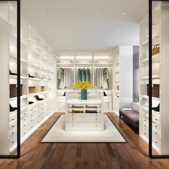 3d представляя минимальную белую скандинавскую прогулку древесины в шкафе с шкафом