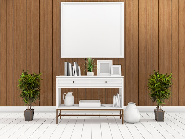 3d rendering minimal white shelf in wood living room with plant in the center
