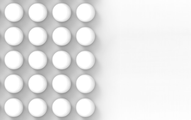 3d рендеринг. минимальный белый шар мяч стек стены дизайн фона. Premium Фотографии