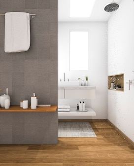 3d rendering minimal wood sink in bathroom