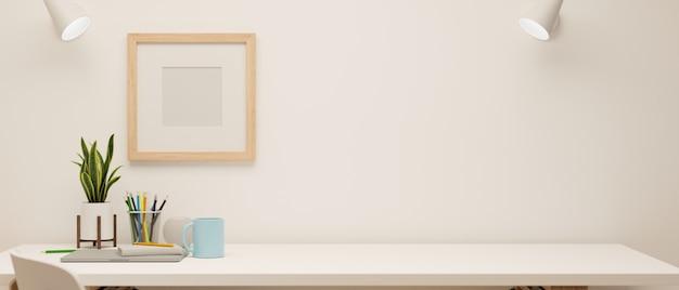 3d-рендеринг минимального рабочего пространства с канцелярскими принадлежностями и украшениями на белом столе и рамкой для макета на стене