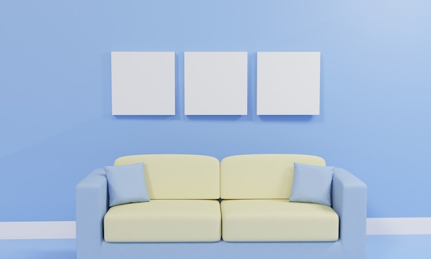 3d rendering minimalist living room with sofa against blue wall