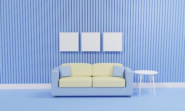 青い壁にソファのある 3 d レンダリングのミニマリスト リビング ルーム
