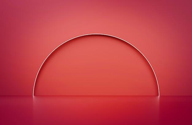 3d рендеринг минималистичный красный фон с неоновым светом