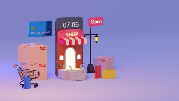 3d rendering mobile application, shopping online on mocile at morning., shopping all time concept.