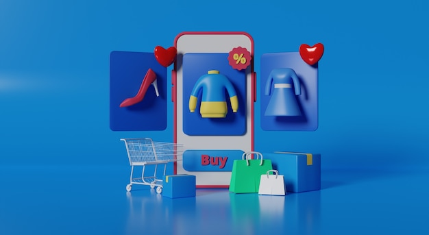 3d rendering mobile store for online shopping