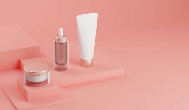 3d rendering mock up cosmetic bundle for skin care.