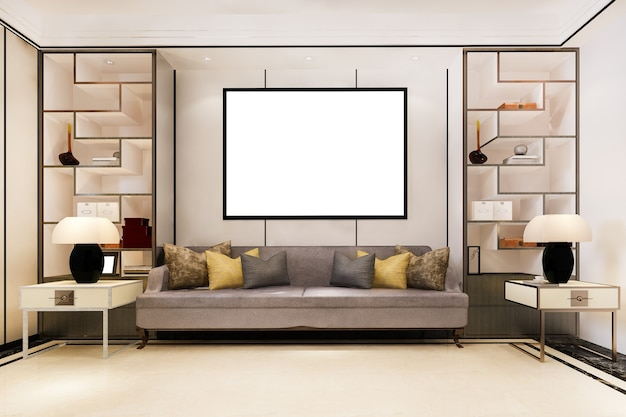 3d rendering mock up frame with beautiful classic sofa