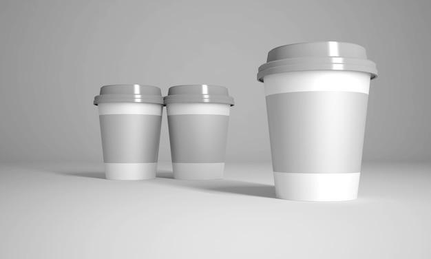 3d рендеринг макет очки для горячих или холодных напитков