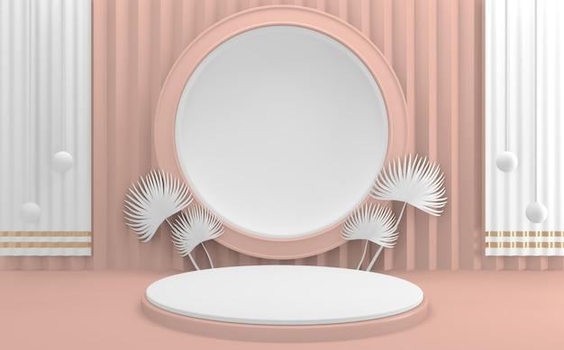 3d 렌더링. 발렌타인 핑크 연단 최소한의 디자인 제품 장면을 모의