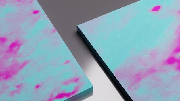 3d-рендеринг макета абстрактной сине-розовой каменной текстуры.