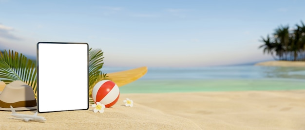 3d rendering mockup digital tablet on sand at beautiful beach background 3d illustration and copy space
