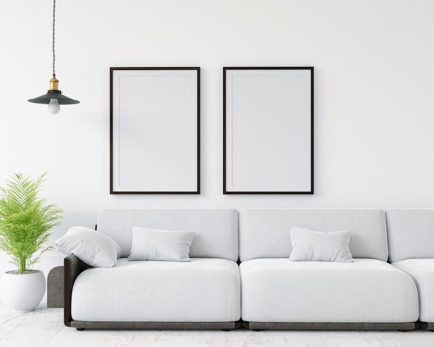 3d-рендеринг макет домашнего интерьера с элементами декора. деревянная рамка.