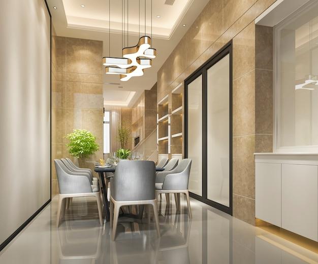 샹들리에와 3d 렌더링 현대적이고 고급 식당
