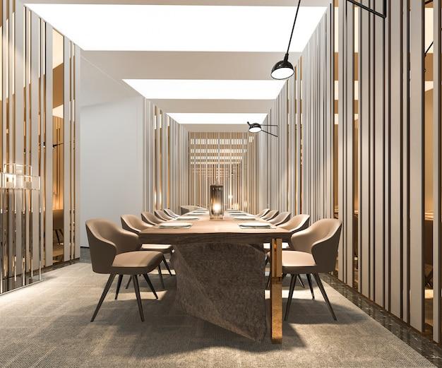 금 거울 3d 렌더링 현대적이고 고급 식당