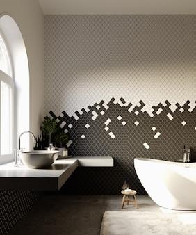 3d 렌더링. 흑백 타일 패턴 벽과 현대적인 욕실 인테리어.