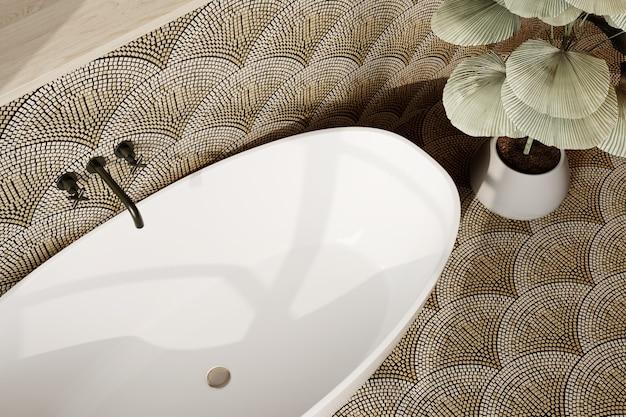 3d рендеринг. интерьер современной ванной комнаты с плиточными стенами и полом. вид сверху.