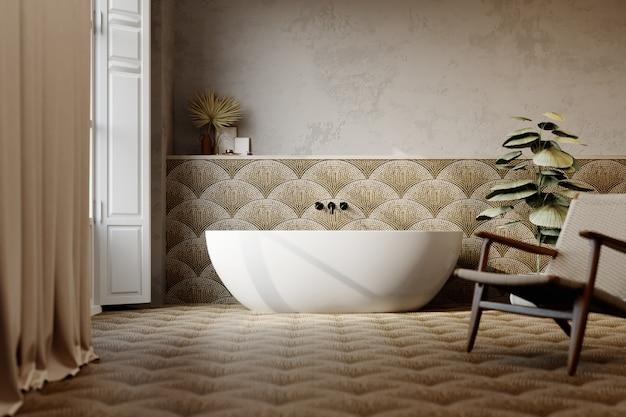 3d рендеринг. интерьер современной ванной комнаты с плиточными стенами и полом.
