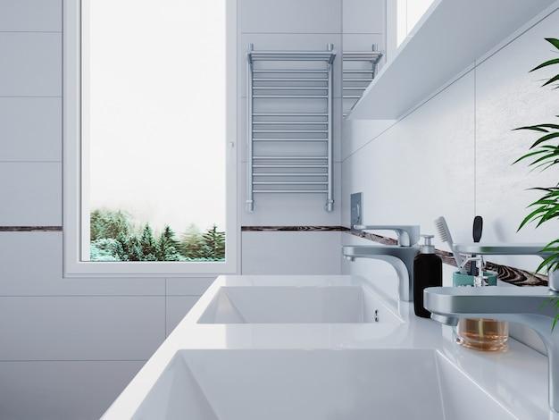 3d рендеринг. интерьер современной ванной комнаты с белой плиткой и окном. скандинавский стиль. Premium Фотографии
