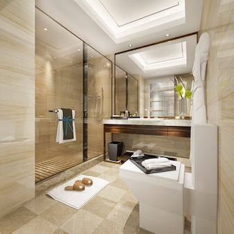 3d rendering modern bathroom with luxury tile decor