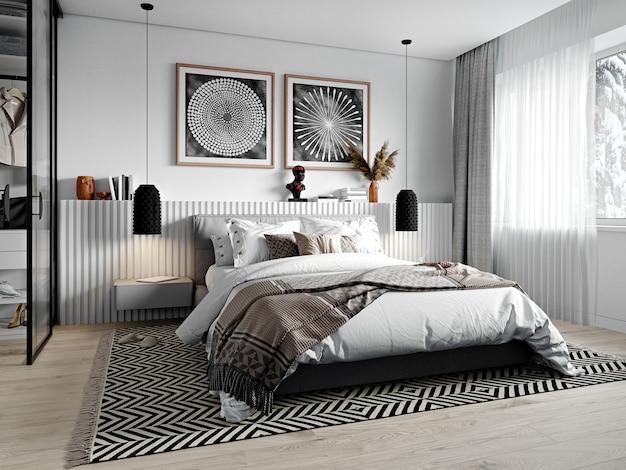 3d-рендеринг. современный интерьер спальни в африканском стиле.