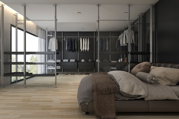 3d rendering modern bedroom with walk in closet and wardrobe