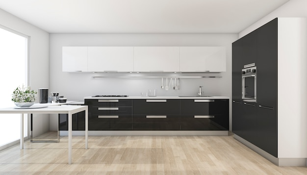 3d rendering modern black kitchen near the window