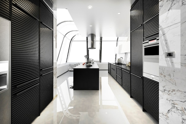 3d rendering modern black kitchen with modern wood built in