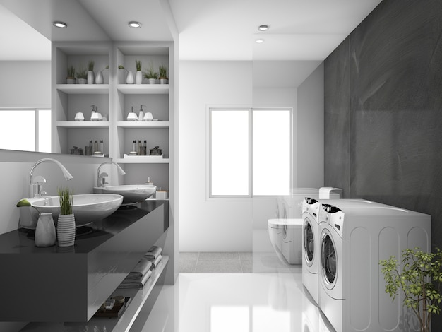 3d rendering modern black laundry room and toilet