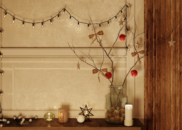 3d рендеринг. современный интерьер живущей комнаты рождества. место для текста.