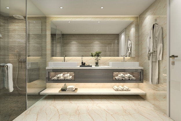 3d rendering modern classic bathroom with luxury tile decor