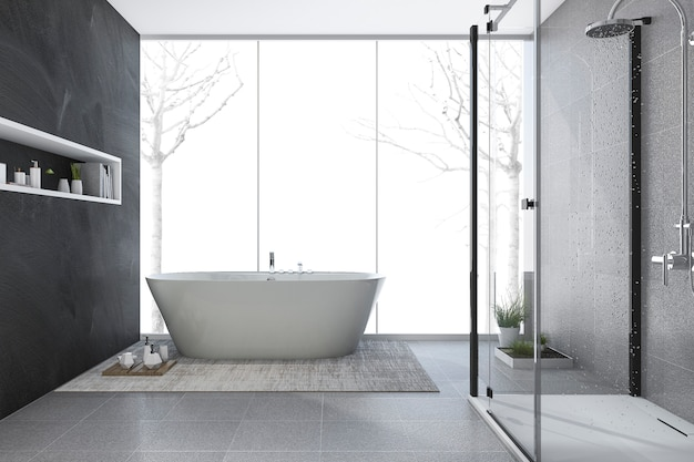 3d rendering modern design bathroom in winter
