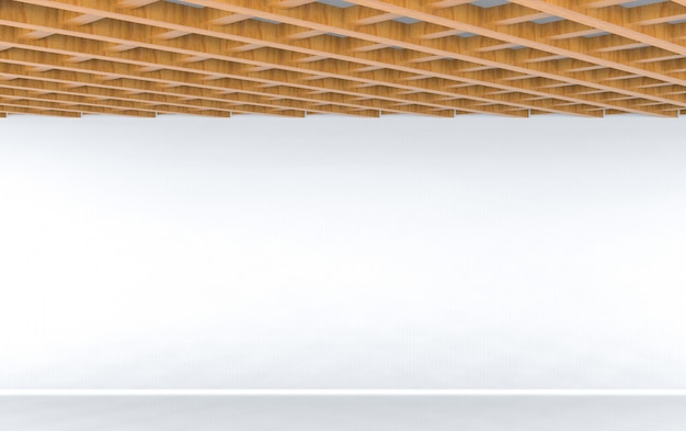 3d rendering. modern design of wood ceiling with empty white wall floor background.