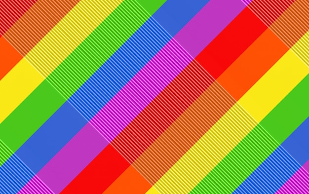 3d rendering. modern diagonal lgbt rainbow color flag design wall background.