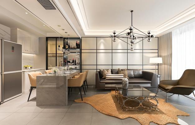 3d 렌더링 현대 식당 및 고급스러운 장식 거실과 주방