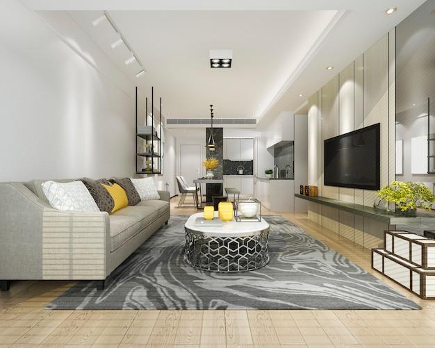 3d рендеринг современной столовой и кухни с гостиной с роскошным декором