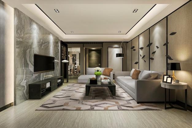 3d 렌더링 현대 식당 및 고급 장식 거실