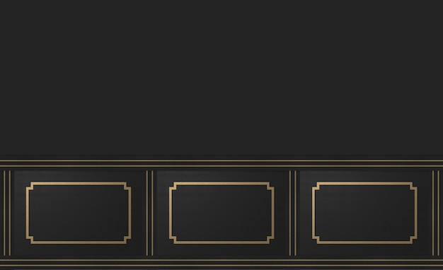3d rendering. modern gold square classical frame pattern design on dark cement vintage wall background.