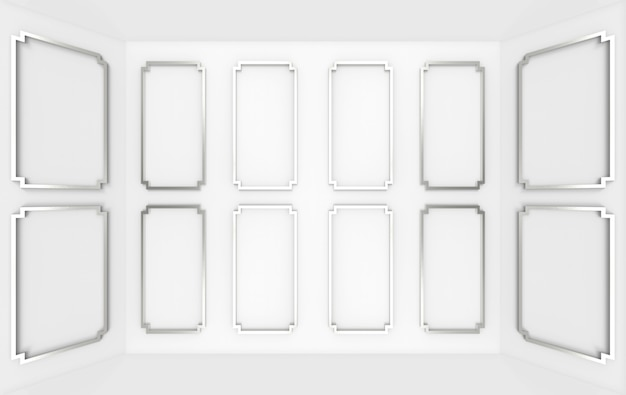 3d рендеринг. современный серый классический квадратный узор деревянная стена угловая комната фон.