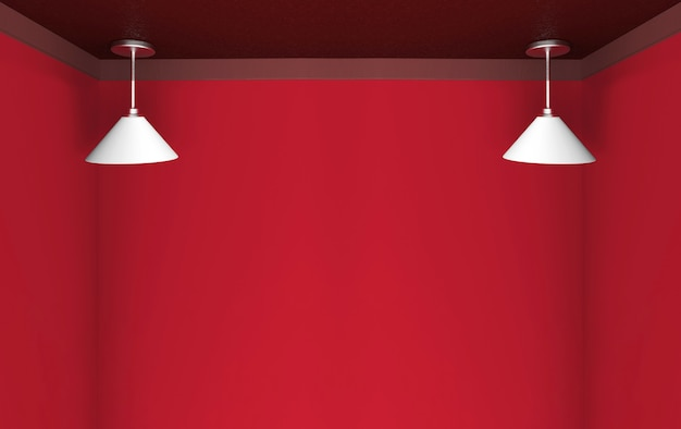 3d rendering. modern hanging white long lamp with light red color copy space background.